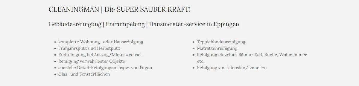 Reinigungsservice, Unterhaltsreinigung aus  Baltmannsweiler